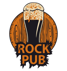 Banner for rock pub with glass of beer and barrel vector