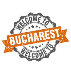 Bucharest round ribbon seal vector