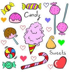 Candy object design doodle style vector