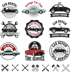 Car repair service labels vector image
