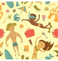 Cartoon beach seamless pattern vector image vector image