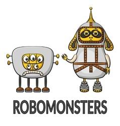 Cartoon Robots Set vector image