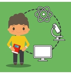 Cartoon school boy book pc atom laboratory green vector
