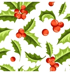 Christmas holly berry seamless pattern vector