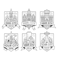 City badges 1 vector image vector image