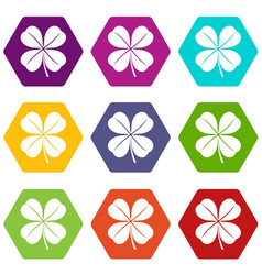 clover leaf icon set color hexahedron vector image vector image