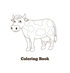 Coloring book cow cartoon educational vector image
