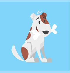 cute happy dog holding bone vector image