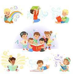 Cute little kids reading fairy tales set vector