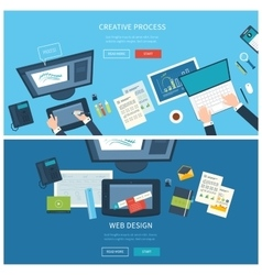 Designer office workspace with tools and devices vector image