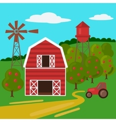 Farm landscape with barn tractor and windmill vector