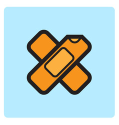 Flat color wound plester icon vector
