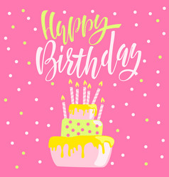 greeting card with cake and candles birthday vector image