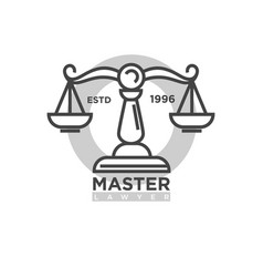Master lawyer organization emblem with antique vector