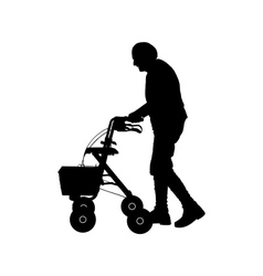 Old woman with walking frame vector