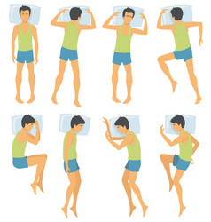 Person sleep positioning man in different vector