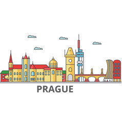 prague city skyline buildings streets vector image vector image