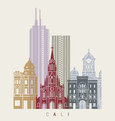 Santiago de cali skyline poster vector