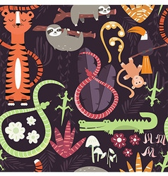 Seamless pattern with cute rain forest animals vector