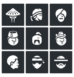 Set of people nation icons chinese thai vector