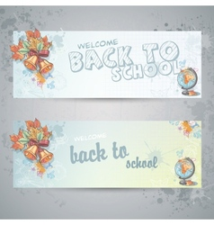 Set with two horizontal banners with globe and vector image vector image