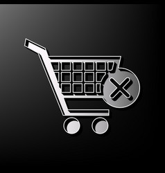 Shopping cart with delete sign gray 3d vector