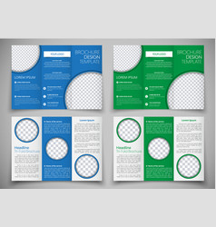 Template triple folding brochure printing and vector