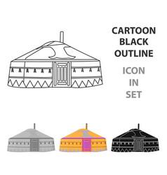 Tent in the mongolian patternsmongolian tent vector