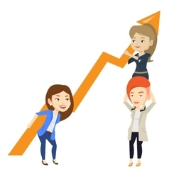 Three business women holding growth graph vector