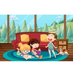 Three girls reading book in the living room vector image