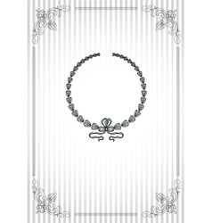 Vintage frame on striped silver background vector image vector image