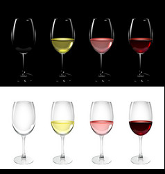 Wineglass with white pink and red wine vector
