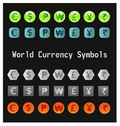 world currency symbols vector image vector image