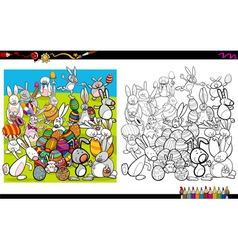Easter characters coloring book vector