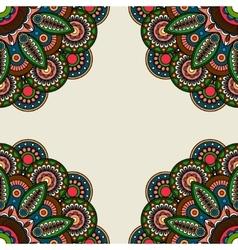 Ornate floral round motifs frame vector image