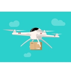 Drone flying in sky with parcel box delivery vector