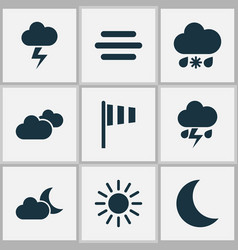 meteorology icons set collection of weather vector image