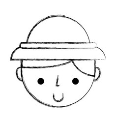 Sketch draw safari kid face vector