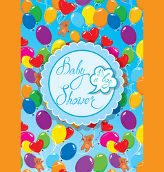Baby shower with round frame air balloons and vector