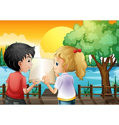 A girl and a boy discussing at the wooden bridge vector image