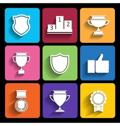 Trophy and awards icons set in flat style vector image