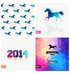 Set of four new year symbols blue horse retro vector