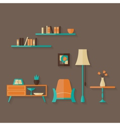 Flat furniture set over brown vector