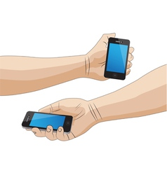 Hand holding a smartphone isolated vector