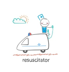 resuscitator rides in the ambulance vector image