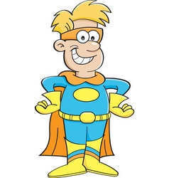Cartoon boy wearing a superhero costume vector