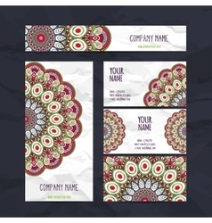 Business cards vintage decorative elements vector