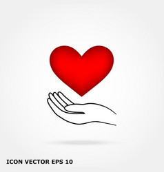 Heart in hand vector