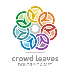 Abstract logo crowd leaves ecology floral design vector