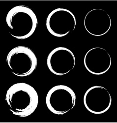 Set of white grunge circle stains vector